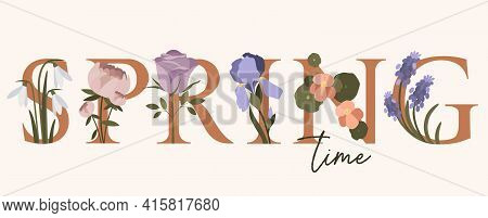 Spring Hand Written Lettering Word In Pastel Colors.hand Drawn Typography Banner With Flowers Grape