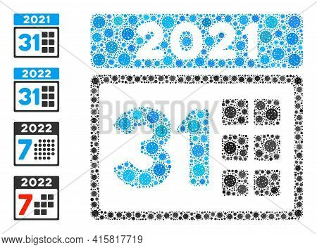2021 Last Day Coronavirus Mosaic Icon. 2021 Last Day Collage Is Composed From Scattered Covid Pictog