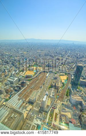 Osaka, Japan - April 30, 2017: Aerial View Of Tennoji Zoo And Osaka Cityscape From A Top Of Osakas A