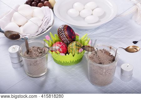 White And Painted Easter Eggs From Germany With Spoons Full Of Wax, Old Eastern Germany Tradition, C