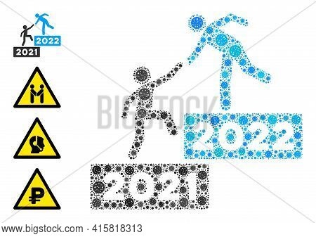 2022 Business Steps Covid Virus Mosaic Icon. 2022 Business Steps Collage Is Formed With Random Covid