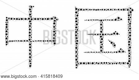 Vector Chinese Hieroglyph Covid Mosaic Icon Designed For Doctor Purposes. Chinese Hieroglyph Mosaic