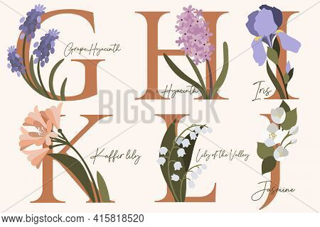 Hand Drawn Floral Alphabet With Spring Flowers In Pastel Colors.letters G, H, I, J, K, L With Flower