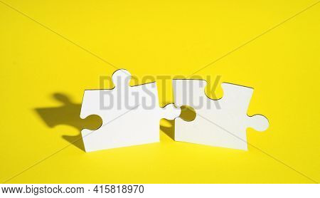 Connect Couple Puzzle Piece On Yellow Background. Symbol Of Association And Connection, Business Str