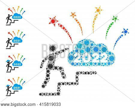 2022 Fireworks Cloud Steps Virus Mosaic Icon. 2022 Fireworks Cloud Steps Collage Is Organized From R