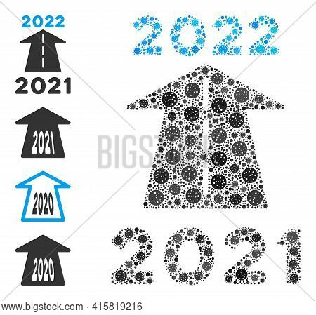 2022 Future Road Virus Mosaic Icon. 2022 Future Road Collage Is Constructed From Randomized Covid Ic