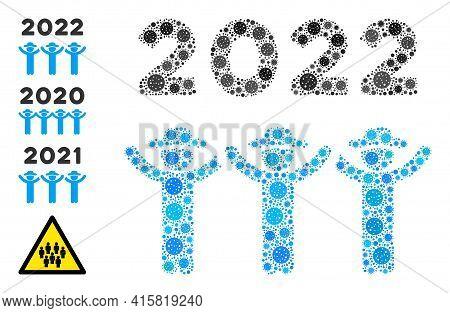 2022 Gentlemen Dance Bacteria Mosaic Icon. 2022 Gentlemen Dance Collage Is Shaped From Randomized Ba
