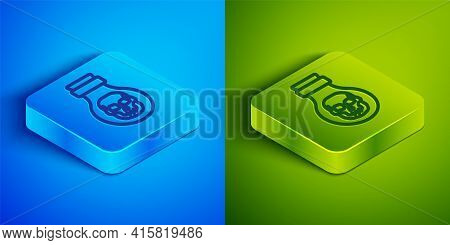 Isometric Line Poison In Bottle Icon Isolated On Blue And Green Background. Bottle Of Poison Or Pois