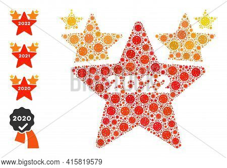 2022 Star Hit Parade Bacteria Mosaic Icon. 2022 Star Hit Parade Collage Is Done Of Random Covid Pict