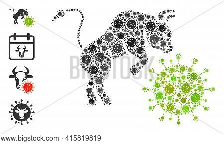 Bull Attacks Coronavirus Covid Virus Mosaic Icon. Bull Attacks Coronavirus Collage Is Designed With