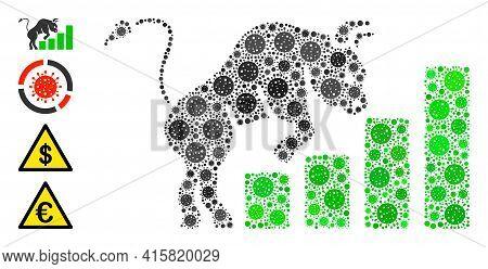 Bullish Market Chart Bacteria Mosaic Icon. Bullish Market Chart Collage Is Organized From Scattered