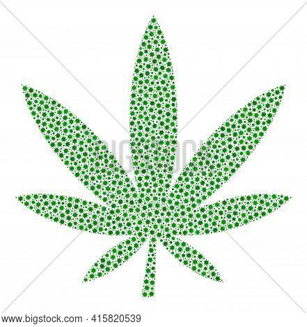 Vector Marijuana Covid-2019 Composition Icon Created For Hospital Projects. Marijuana Mosaic Is Form