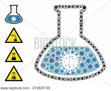 Covid Analysis Flask Covid Mosaic Icon. Covid Analysis Flask Collage Is Created From Random Covid Pa