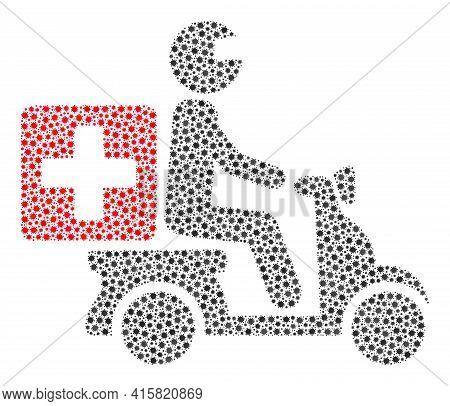 Vector Medical Motorbike Coronavirus Composition Icon Organized For Health Care Illustrations. Medic