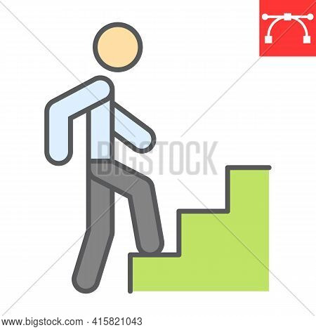 Career Path Color Line Icon, Leadership And Success, Person Climbing Career Path Vector Icon, Vector