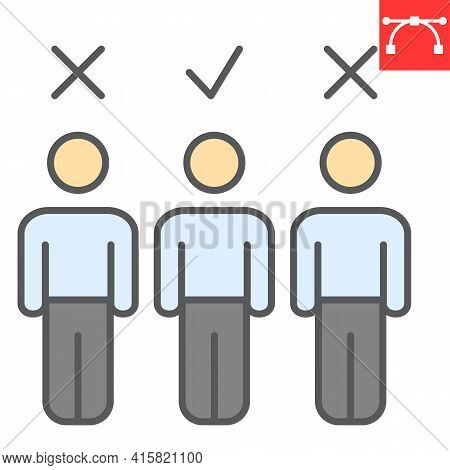 Candidate Color Line Icon, Job And Recruit, Choosing The Right Candidate Vector Icon, Vector Graphic