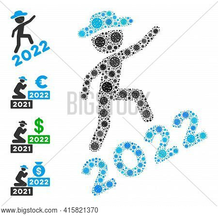 Gentleman Climbing 2022 Bacteria Mosaic Icon. Gentleman Climbing 2022 Collage Is Done From Scattered