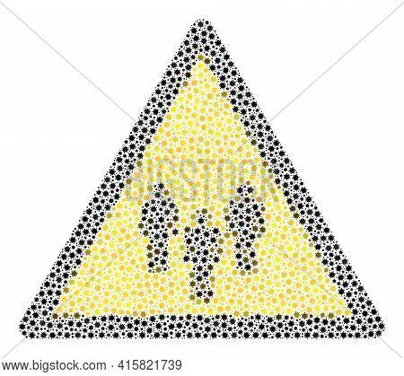 Vector People Warning Covid-2019 Mosaic Icon Created For Hospital Projects. People Warning Mosaic Is