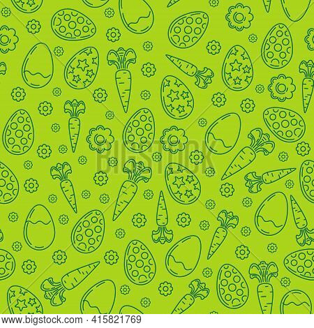 Easter Seamless Pattern. Pattern Consisting Of Easter Eggs, Flowers, Carrots. Vector Illustration