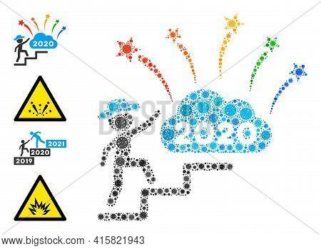 Gentleman Steps To 2020 Fireworks Virus Mosaic Icon. Gentleman Steps To 2020 Fireworks Collage Is Fo