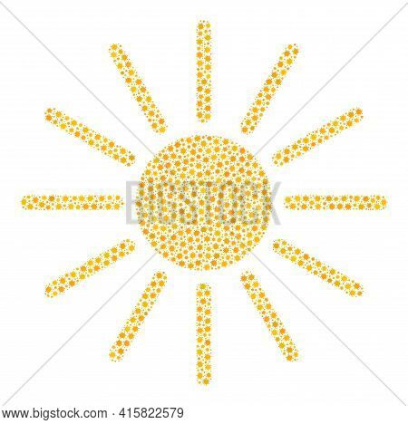 Vector Sun Coronavirus Collage Icon Designed For Medicare Applications. Sun Mosaic Is Created From L