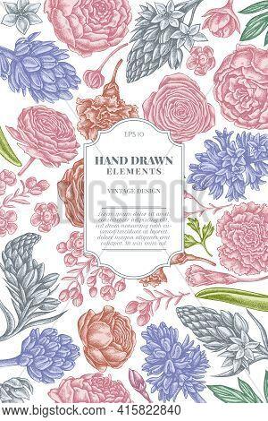 Card Design With Pastel Peony, Carnation, Ranunculus, Wax Flower, Ornithogalum, Hyacinth Stock Illus