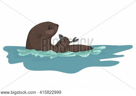 Otter On The Hunt, Holding And Eating Fish, Swimming On Its Back, Cute Predatory Wild Animal, Vector