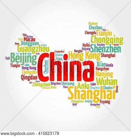 List Of Cities And Towns In China, Map Word Cloud, Business And Travel Concept Background