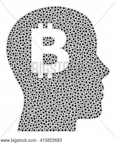 Vector Bitcoin Imagination Covid Mosaic Icon Designed For Pharmacy Applications. Bitcoin Imagination