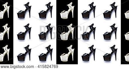 Seamless Fashion Pattern With Women's Black High-heeled Shoes.  Female Sandals With Very High Heels