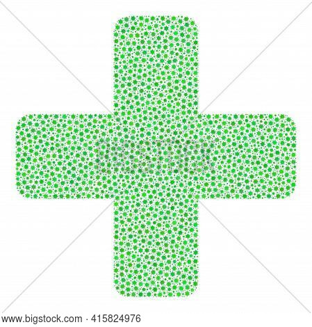 Vector Green Cross Covid Collage Icon Organized For Pandemic Wallpapers. Green Cross Mosaic Is Organ
