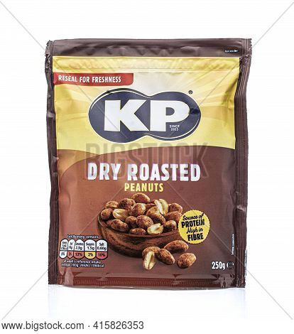 Swindon, Uk - April 6, 2021: Packet Of Kp Dry Roasted Peanuts On A White Background