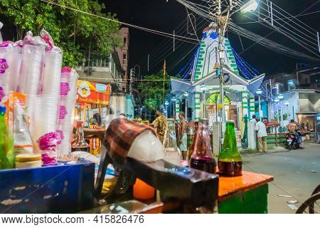 Howrah, West Bengal, India - April 14th, 2019 : Illuminated Temple Of Lord Shiva On The Eve Of Benga