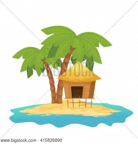 Beach Hut Or Bungalow With Straw Roof, Wooden On Tropic Island With Palm Tree In Cartoon Style Isola