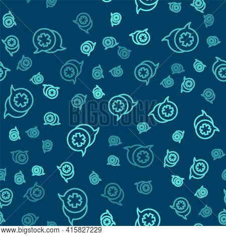 Green Line Dialogue With The Doctor Icon Isolated Seamless Pattern On Blue Background. Doctor And Pa
