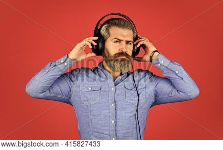 Man Listening Music With His Headphones. Bearded Man Hipster In Headset. Listening To Music. Time To
