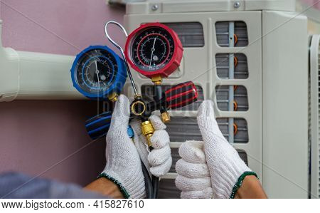 Technician Man Giving Thumb Up With Holding Refrigerant Manifold Gauge Set Air Conditioning Tools Wi