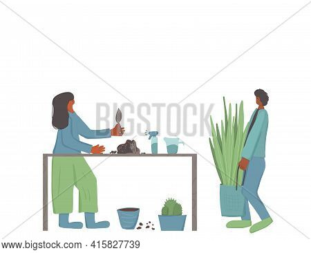 Plant Lovers. Houseplants Owners Event. Young Man And Woman Wearing In Casual Clothes Taking Care Of