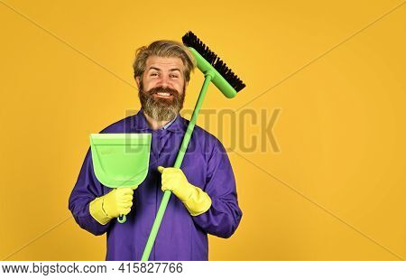 Spring Cleaning. Clean Service People. Mature Male Worker With Broom Cleaning. Male Janitor Cleaning