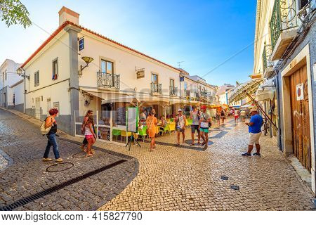 Lagos, Portugal - August 19, 2017: Restaurants And Shops In The Historic Center Of Lagos, An Old Sea