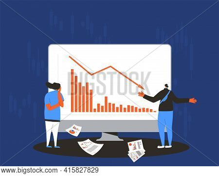Stock Market Crash. Invest In The Companys Bonds Fail. Frustrated Man And Woman With Reports Of Stoc