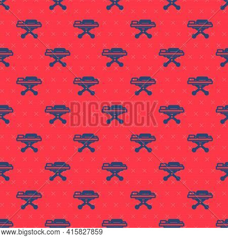 Blue Line Stretcher Icon Isolated Seamless Pattern On Red Background. Patient Hospital Medical Stret