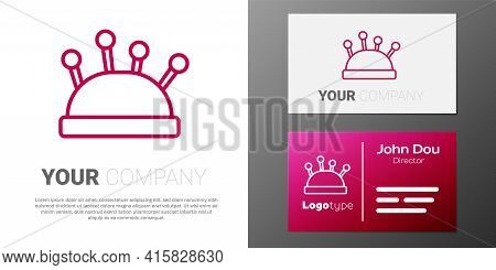 Logotype Line Needle Bed And Needles Icon Isolated On White Background. Handmade And Sewing Theme. L