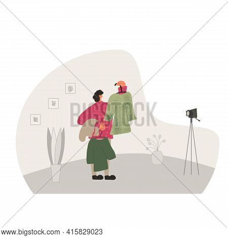 Fashion Blogger. Person Showing Vintage Dresses Against Camera On Tripod. Vector Flat Illustration.