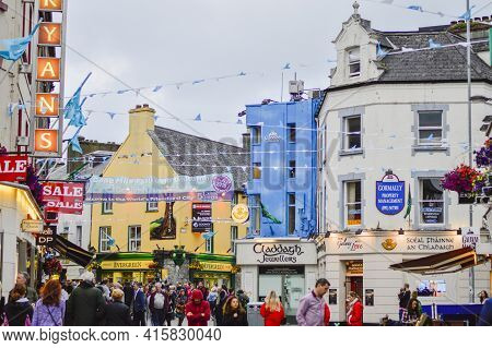 Galway, Ireland, July, 2016. Busy Galway City Centre Full Of Visitors.