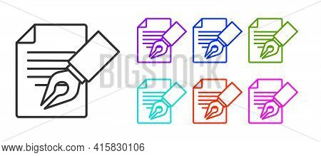 Black Line Exam Sheet And Pencil With Eraser Icon Isolated On White Background. Test Paper, Exam, Or
