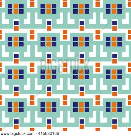 Modern Moorish Style Geometric Vector Pattern Background. Backdrop With Mosaic Squares And Interlink