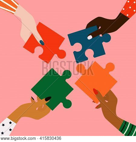 Women's Hands Of Different Nationalities. The Concept Of Female Friendship, Equality And Partnership