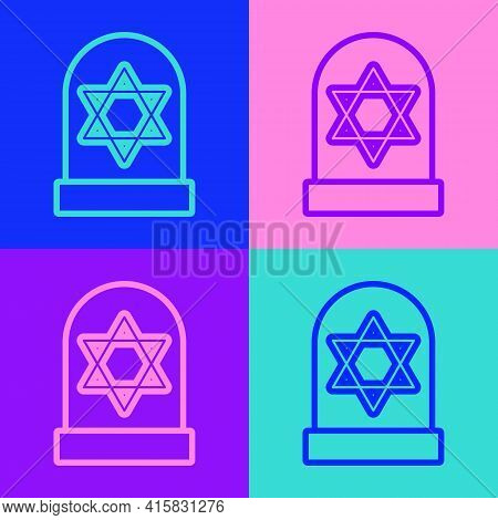 Pop Art Line Tombstone With Star Of David Icon Isolated On Color Background. Jewish Grave Stone. Gra