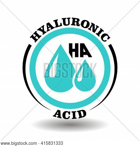 Round Vector Icon Of Hyaluronic Acid Component With Drop Sign For Ha Medical Labeling, Contain Hyalu